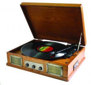 Steepletone Norwich Retro Record Player with Radio & USB Playback - Light